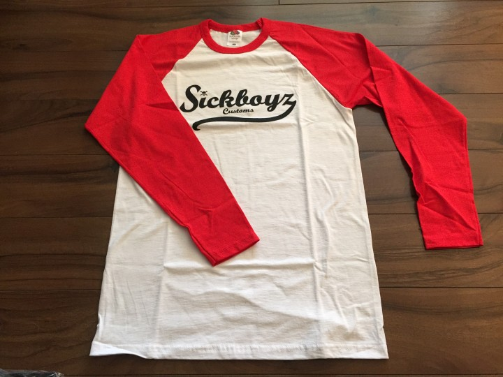 Sickboyz White Baseball Tee with Red Sleeves and Black Retro Logo