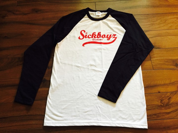 Sickboyz White Baseball Top with Black Sleeve and Red Retro Logo