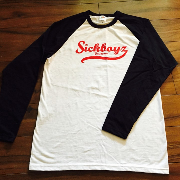 Sickboyz White Baseball Top with Black Sleeve and Red Retro Logo